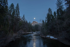Half Dome (copyrighttoy) Tags: light moon lake water night creek low yosemite dome half moonlight