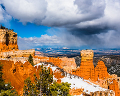 Bryce Canyon 21 (MarcCooper_1950) Tags: trees red sky orange snow colors clouds landscape utah nikon scenery rocks vivid canyon cliffs hills southern boulders hoodoo bryce rainfall hdr formations lightroom mounatins brycecanyonnationalpark geologic d810 marccooper