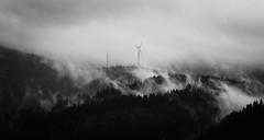 Haze (oliko2) Tags: monochrome misty fog contrast germany landscape blackwhite hazy blackforest windturbine schauinsland tamron70300 nikond7100