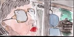 der Fahrer war ausgestiegen, auf offener Strecke. Er hatte seine Aktentasche genommen und war einfach gegangen. Sie sah ihm lange nach (raumoberbayern) Tags: summer bus pencil subway munich mnchen sketch drawing sommer tram sketchbook heat ubahn draw bleistift robbbilder skizzenbuch zeichung