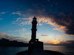 Chania, Faros (orestisvaresis) Tags: longexposure sunset summer lighthouse water colors beautiful fuji greece chania vsco