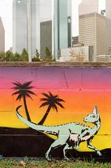 93040022 (alexdotbarber) Tags: slr 35mm mural dinosaur coolidge f56 1125 kodakgold200 colornegative contaxaria carlzeissplanart50mmf14 houstonstreetart centerweightmetering expired2013