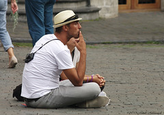Portrait (Natali Antonovich) Tags: brussels portrait hat photographer belgium belgique belgie grandplace smoke profile hats lifestyle tourists stare relaxation reverie photographercamera sweetbrussels hatisalwaysfashionable