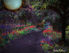 Moonlight Stroll (brillianthues) Tags: flowers nature collage night photoshop garden photography colorful glow topaz photmanuplation