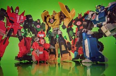 Autobots...um, uh...Roll Out? (thenatureboywoo) Tags: reflection green toys colorful transformer bumblebee robots transformers actionfigures disguise rid autobot hasbro drift autobots strongarm grimlock sideswipe kidstoys fixit robotsindisguise multiplecolors rid15