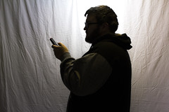 Testing It Out (MBPruitt) Tags: bear selfportrait photography cub hoodie phone michigan lansing chub backdrop homestudio