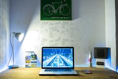 Desk Set Up (Dan_willis94) Tags: nyc light apple lamp computer tv industrial desk coke pro setup guide diet iphone macbook appletv nycguide iphone6