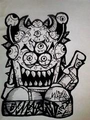 graffiti sticker (Wizards_Stickers) Tags: street art graffiti sticker stamps paste labels characters usps spraycan slaps cholo collabs mtsk cholowiz nazer26