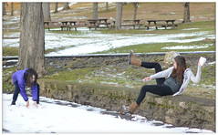 Snow Day (rbatina) Tags: park city winter ohio woman house snow playing hot cold silly cute girl beautiful goofy yoga kids lady dark hair fun skinny outside outdoors rising fight long play pants little snowy january young 15 chick teen lancaster teenager sledding snowball oh thin shelter sled 15th petite leggings teenage 2016 rubbertoe