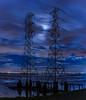 moon light power (pbo31) Tags: california blue winter sky panorama moon motion color reflection water night clouds dark bay nikon over january large panoramic powerlines shore bayarea bluehour stitched sanmateo baytrail sanmateobridge sanmateocounty 2016 lightstream boury pbo31 d810