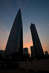Two (Yohsuke_NIKON_Japan) Tags: china building tower skyscraper nikon asia shanghai dusk wide jinmaotower 2016 swfc d600 1635mm