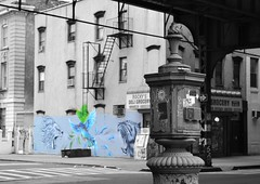 8/365: Sound & Color (foanmoan) Tags: road street nyc blue color bird art brooklyn corner painting nikon mural hummingbird vibrant tiger lion spot deli williamsburg grocery selective bushwich d3100