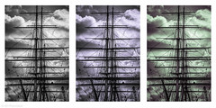 Master of the masts (Anthony Plancherel) Tags: england blackandwhite bw london art history monochrome silhouette composite clouds work outside boat dangerous triptych ship outdoor greenwich border transport sails vessel historic maritime environment worker mast heights trade cutter rigging clipper darkclouds workman touristic workmanship whiteandblack splittone francisdrake seaman tinting photoborder gyspymoth