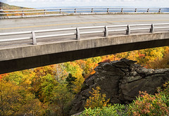 Blue Ridge Parkway Viaduct (WMJ614) Tags: road bridge autumn sky mountain storm color fall leaves clouds virginia highway rocks colorful scenic northcarolina viaduct railing range blueridgeparkway
