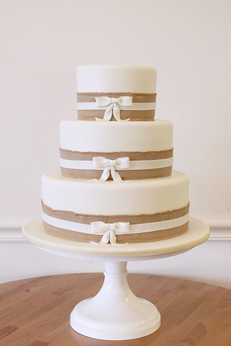 Burlap Ribbon Trim and Bows Wedding Cake