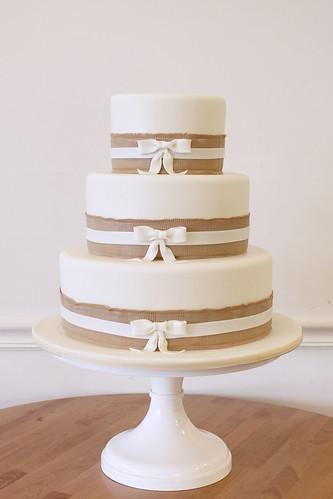 Burlap Ribbon Trim and Bows Wedding Cake