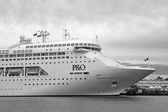 Pacific Jewel laid up BW (PhillMono) Tags: voyage new cruise white black monochrome sepia wales architecture bay boat nikon ship pacific dolphin south sydney piano australia vessel bow po arrival dslr departure renzo jewel d7100