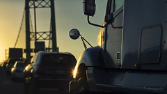 life is like a freeway (cherryspicks) Tags: california city bridge light sunset urban truck losangeles highway dof traffic transport freeway vincentthomas