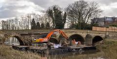 TADCASTER OLD BRIDGE (I.K.Brunel) Tags: bridge england orange stone river unitedkingdom pontoons repairs excavator tadcaster wharfe