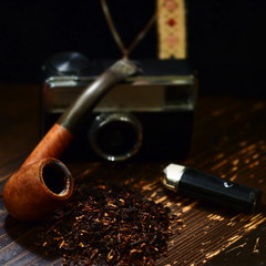 Camera, Tobacco and Pipe (ABB iphone) Tags: mood pipe cameras tobacco cameracollection darudar barhatovcom
