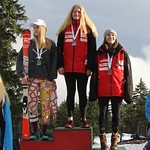 Mt. Seymour Ski Club Enquist Slalom Saturday Ladies' Podium - Maja Woolley 1st; Katrina Voss 2nd; Meg Swaffield 3rd; PHOTO CREDIT: Hans Forssander