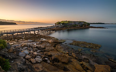 La Perouse Low Tide Sunrise (Orange Orb Photography) Tags: longexposure morning bridge seascape water sunrise landscape island rocks fort sydney australia historic walkway lowtide fortification laperouse bareisland southeastsydney