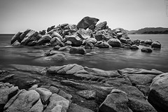 These rock (Ron Jansen - EyeSeeLight Photography) Tags: longexposure sea blackandwhite france reflection beach water monochrome rock rocks corsica plage palombaggia d810 tamaricciu