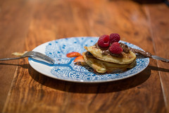 Pancake Day (Pittypomm) Tags: food pancakes strawberry day knife plate fork raspberry nutella pancake buttermilk