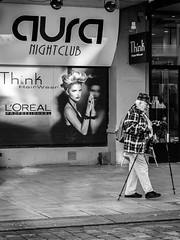 """Had a realy tough night at the nightclub..."" (Terje Helberg Photography) Tags: street city winter urban blackandwhite bw monochrome norway walking town sticks pavement candid citylife streetphotography samsung nightclub sidewalk bergen bnw greyscale visitnorway ilovenorway nx30 visitbergen"