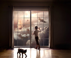 """""""Dreaming of Sailing With Manta Rays"""" (Gabriel Tomoiaga) Tags: boy sunset window animals clouds cat sunrise boat shadows child looking darkness watching vessel fantasy sail curtains tallship dreamer magical whimsical mantaray fineartphotography creativephotography surrealphotography conceptualphotography"""