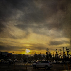 Scenic Shopping (Colormaniac too) Tags: trees sunset cars beautiful shopping landscape photography washington state pacific northwest parking silhouettes lot sequim textures glorious olympic peninsula iphone flypaper