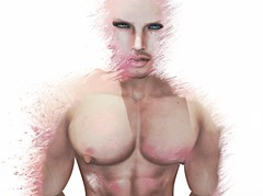 Blush but not Bashful (Cole Delpiaz) Tags: pink shirtless green nude eyes skin chest scatter blush splatter bashful