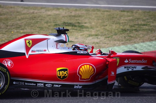 Kimi Raikkonen in the Ferrari in Formula One Winter Testing 2016