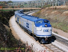.CSX 118-119, Salisbury, PA.   10-13-1987 (jackdk) Tags: railroad trestle bridge train railway wm locomotive bo ocs westernmaryland csx passengertrain f7 emd baltimoreandohio csxt sandpatch emdf7 f7a fp9 fp7a pittsburghsub emdfp7 sandpatchgrade salisburyjunction keystonesub csxkeystonesub csxpittsburghsub