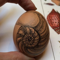 Nautilus Gifted Egg (humanleather) Tags: illustration ilustracion nautilus pointillism eggart anahumanleather anaarmengod giftedeggproject