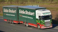PK60 SZJ (panmanstan) Tags: truck wagon motorway yorkshire transport lorry commercial vehicle scania m62 stobart drawbar r440