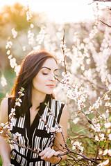 she (Viktoriya Isaeva) Tags: portrait people woman plants tree cherry 50mm blossom outdoor can sp ou