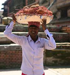 Coconut Vendor (jfusion61) Tags: nepal portrait fall square nikon coconut sunny valley d750 kathmandu vendor durbar bhaktapur bha 2470mm
