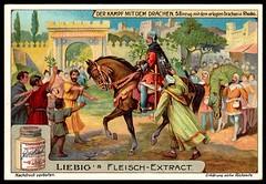 Liebig Tradecard S990 - The Fight With the Dragon (cigcardpix) Tags: vintage advertising ephemera liebig chromo tradecards