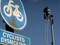 Sign & Signal in Preston (Tony Worrall Foto) Tags: county uk blue england bike sign metal warning words stream track tour open place northwest unitedkingdom country north bad bluesky visit location lancashire cycle round points area preston written northern update signal attraction lancs sigange welovethenorth