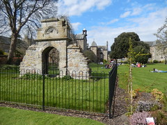 Ruined gateway to a former building in St Mary's Quad, 2016 Apr 21 (Dunnock_D) Tags: uk blue sky white tree green grass clouds scotland oak ruins university unitedkingdom fife britain lawn ruin quad doorway gateway standrews railings quadrangle holm ruined stmarysquad