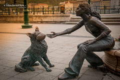A girl with her dog statue, Budapest (v.Haramustek) Tags: street sculpture dog playing monument girl statue hungary outdoor budapest prom promenade doggy