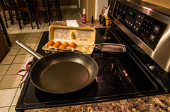 Thinking About Breakfast (ramseybuckeye) Tags: life brown kitchen breakfast pentax top egg stove thinking eggs carton about stovetop skillet