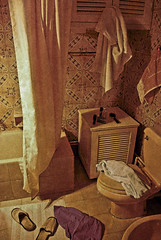 The Golden Age (Velvet Heaven) Tags: old bathroom ancient mess perfume apartment floor boxers curtain egypt cologne toilet brush bin cairo laundry memory towels romantic slippers showering bathrub