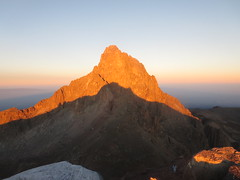 The summit of Mount Kenya (5,199 metres - 17,057 ft) viewed from the summit of Lenana Peak (4,985 metres  - 16,355 ft) at sunrise (John Steedman) Tags: africa trek kenya peak afrika kenia afrique eastafrica mountkenya ostafrika 非洲 lenana アフリカ ケニア африка afriquedelest أفريقيا кения 肯尼亚 lenanapoint 東アフリカ lenanapeak شرقأفريقيا 东部非洲