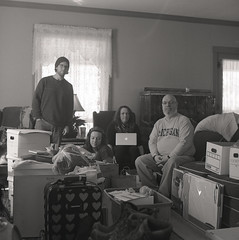 Its just us now (justinbrenneman) Tags: family blackandwhite white black 120 film monochrome mono kodak trix cleaning 400 medium format boxes trix400