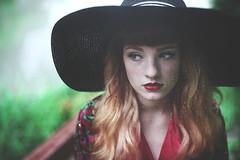 Aubrey (KelsieTaylor) Tags: red portrait black green girl hat rain moody doubleexposure rainy raindrops dreamy ombrehair