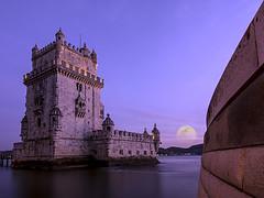 MiniaturaUA069_DLT4688_TorreBelmLuaCheia80x60 (J. D'Allambert) Tags: sunset moon tower portugal torre lisboa lisbon lua crepusculo tejo