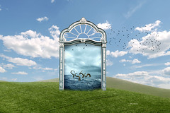 portal (iblushay : Thank you for visiting and the faves) Tags: door sky cloud green nature grass photomanipulation photoshop outdoors open illusion photomontage portal manipulate manipulating