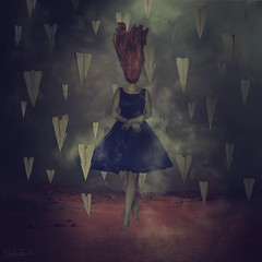 Against the Current (Sabine Jacobs Photography) Tags: portrait self paper landscape fly flying dress surrealism fine dream surreal floating planes mysterious dreamlike whimsical